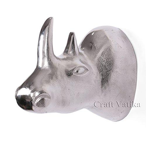 craftvatika Grande tête de rhinocéros en métal à suspendre au mur 27,9 cm