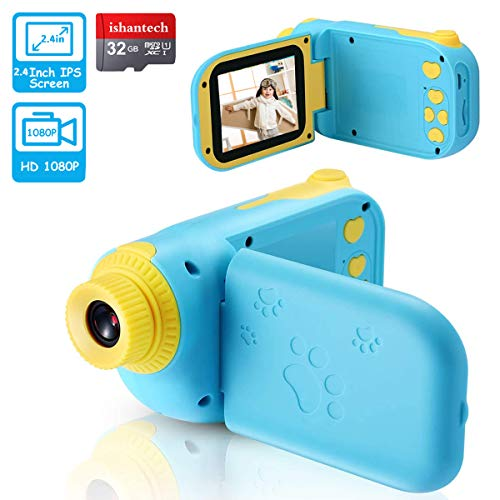 ishantech Kids Digital Video Camera Toys for 3-10 Years Old Boys 1080P 2.4 inch IPS Screen Camera for Age 3 4 5 6 7 8 9 Years Old Toddler Kids Boys Best Birthday Gift Toys with 32G SD Card (Blue)