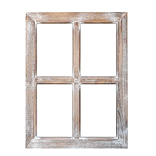 """Barnyard Designs Rustic Barn Wood Window Frame, Decorative Country Farmhouse Home Wall Decor, Wooden Window Pane for Living Room, Bedroom, or Fireplace Mantel, 1 Frame, 18' x 24"""""""