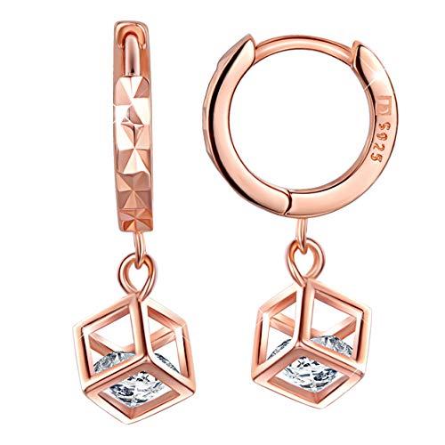 Unendlich U Damen 925 Sterling Silber Viereck Zirkonia Ohrhänger Creolen Ohrringe Allergenfrei Weihnachtsgeschenke,Rosegold