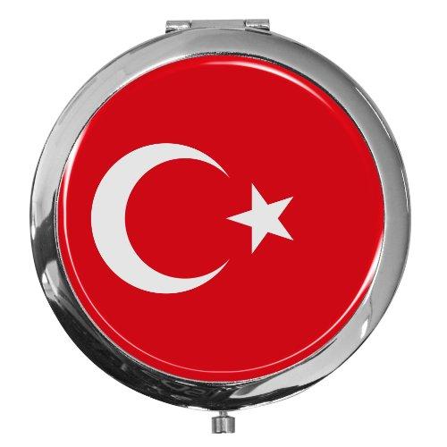 metALUm Premium - Miroir de Poche en métal chromé Drapeau Turquie avec Une Couche Noble de résine sythétique - Un pour Les Fans de Turquie
