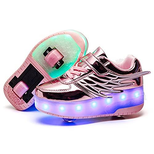 GGBLCS Zapatillas con Ruedas para Niños 7 Colores LED Luz Luminosas Zapatos de Skateboard Doble Rueda Patines Calzado Deportivo al Aire Libre Niño y Niña con USB Carga,Rosado,34 EU