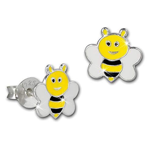 Teenie-Weenie, SDO8156Y, orecchini per bambini, in argento 925, a forma di ape, colorati