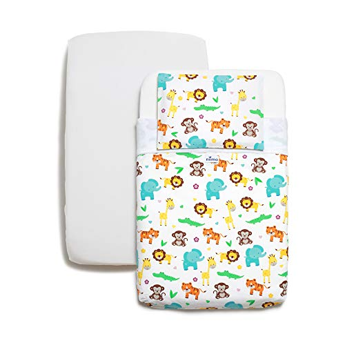 Niimo Next to Me Crib Sheets Set 3 Pieces 100% Cotton +1 Waterproof Mattress Protector for Co-Sleeping Cradle with Dimensions 50x83 (Jungle)