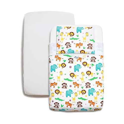 Niimo Next to me Sabanas set de sábanas 3 piezas100% algodón +1 Protector Colchon Impermeable para cuna de colecho Lullago Kinderkraft UNO Cullami Cam Jane Babyside dimensiones 50x83 (Selva)