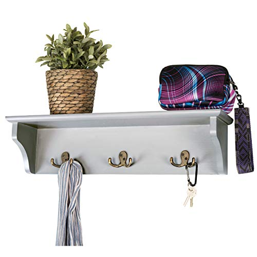 Hand Painted Grey Wooded Wall Mounted Hanging Entryway Shelf with 6 hooks 24x6 Use as coat rack hat organizer key holder Perfect for Entryway Mudroom Kitchen Bathroom Hallway Foyer Grey