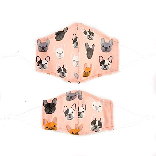 Frenchie Face Mask for Adults and Kids with Adjustable Ear Loops or Ties in 3 Sizes Made of 100% Cotton That is Reusable and Washable with a Filter Pocket and Wire Nose Piece