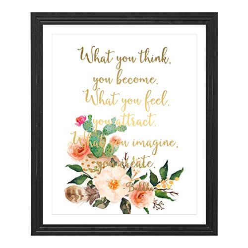 Eleville 8X10 What You Think You Become Real Gold Foil and Floral Watercolor Art Print (Unframed) Buddha Quote Wall Art Home Decor Motivational Inspirational Poster WG117