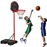 Youth Portable Height-Adjustable Basketball Hoop Stands, Basketball System 28 Inch Backboard, Indoor Outdoor,Black & Red