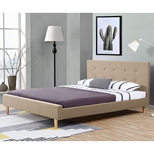 Polsterbett aus Leinen Bettgestell mit Lattenrost 140x200 cm Bett inkl. Lattenrahmen und Kopfteil Doppelbett Jugendbett Creme
