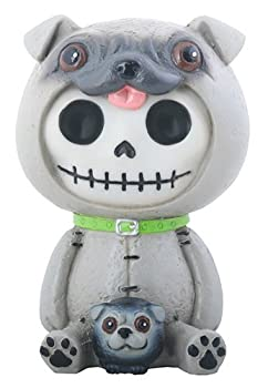SUMMIT COLLECTION Furrybones Pugsly Signature Skeleton in Pug Dog Costume with a Little Dog