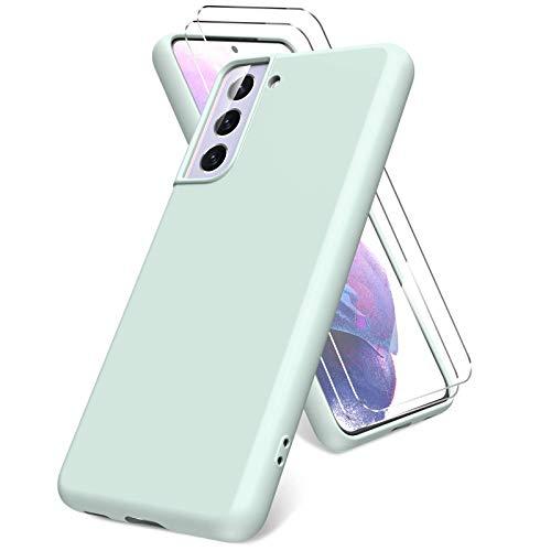 Vansdon Funda Compatible con Samsung Galaxy S21 5G, 2 Unidades Protector Pantalla Cristal Templado, Silicona Líquida Gel Ultra Suave Funda- Menta