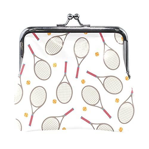 Monedero Monedero Raqueta de bádminton y Raqueta de Tenis Monedero para Mujeres con Cierre de Beso Monedero para niñas para Mujeres niña 4.5x4.1 Pulgadas