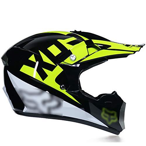 YATT Casco De Motocross, Casco De Cara Completa Desmontable Respirable Ventilado Casco De Adulto Fresco Fox Amarillo con Gafas Guantes Protector Facial