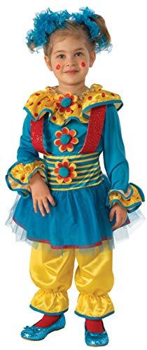 Rubies - Disfraz de payaso para niña, Azul/Amarillo, 3-4 años (641150-S)