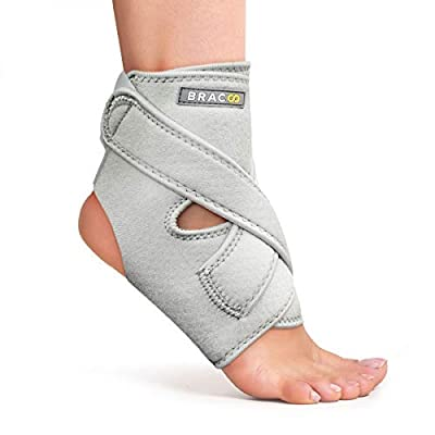 Bracoo Ankle Support, Compression Brace for Arthritis, Pain Relief, Sprains, Sports Injuries and Recovery, Breathable Neoprene Sleeve, FS10 (Gray, L/XL)