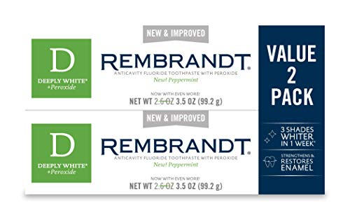 Rembrandt Deeply White + Peroxide Whitening Toothpaste, Peppermint Flavor, 3.5-Ounce (2 Pack) (Packaging may Vary)
