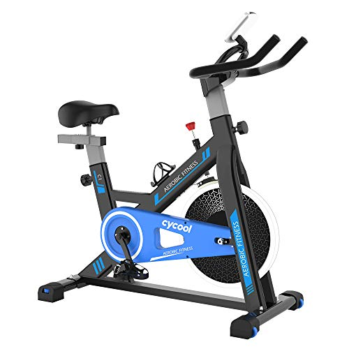 cycool Stationary Bike Exercise Bike Belt Drive Indoor Cycling Bike with Phone Stand,LCD Monitor,Comfortable Seat Cushion (cycoolC1-1)