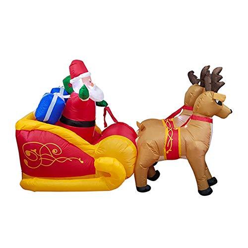 Papá Noel inflable de Navidad de 7 pies de largo en trineo con 2 renos voladores y regalos, decoración inflable...