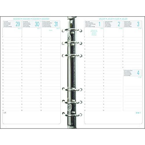 Exacompta - 18272E - Recharge perforée - Exatime 17 - 10,5 cm x 17,2 cm - La semaine sur 2 Pages avec une grille verticale - Septembre 2021 à Décembre 2022 - Papier blanc