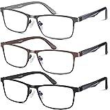 Blue light Blocking Reading Glasses for Men,Stylish Metal Frame Readers for Men