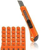 Cuttermesser 30 Stück Rot OFFICE POINT | 18mm Abbrechklinge | Teppichmesser mit Wechselklinge | präzise Klingenführung | auch für Bastelarbeiten (30)