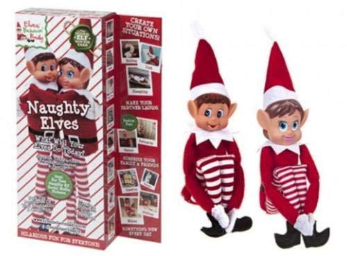 Set von 2-30,5 cm Neuheit Naughty Girl and Boy Elves Spielzeug - Elves Behavin' Badly