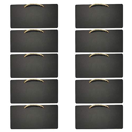 Gobesty Kreidetafel zum Aufhängen, 10 Stück Rechteckige Kreidetafeln Mini Tafeln zum Beschriften, kreidetafeln mit Aufhängeband für Zuhause, Hochzeit, Restaurants, Cafés, Schwarz