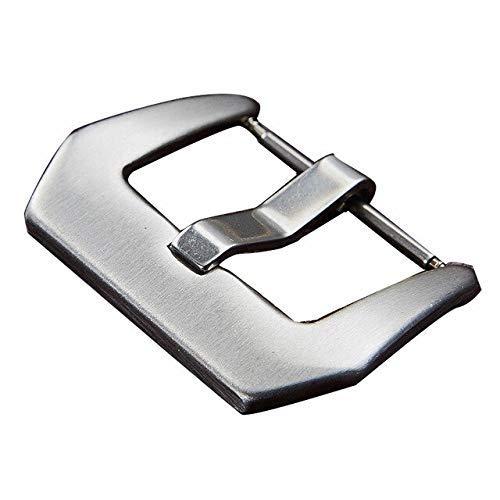 Hebilla de acero inoxidable para correa de reloj de 18 mm, 20 mm, 22 mm, 24 mm (color: plata, tamaño: 18 mm)