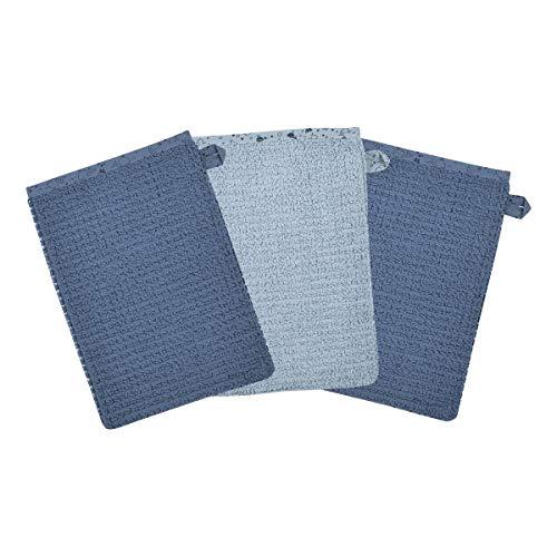 Wörner Lot de 3 gants de toilette 15 x 21 cm GOTS gant de toilette bébé, bleu
