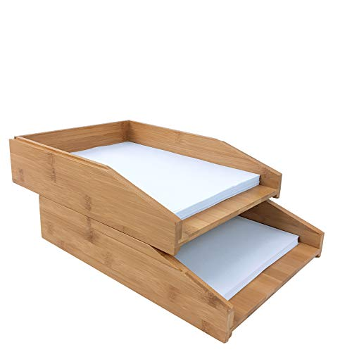woodluv Briefablage, 100% Bambus, A4, stapelbar, 2 Stück
