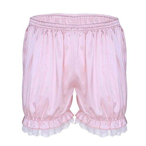 Freebily Herren Sissy Dessous Unterhose Bloomer Hose Shorts Loose Fit Boxershorts Retroshorts Badeshorts Pumphose mit Spitze Rüschen Rosa XL