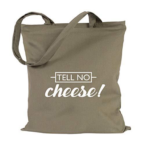 JUNIWORDS Jutebeutel, Wähle ein Motiv & Farbe, Tell no cheese! (Beutel: Khaki, Text: Weiß)