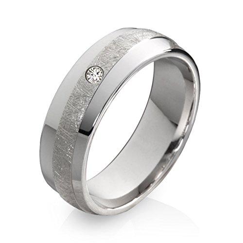 Ehering Verlobungsring Trauring aus 925 Silber mit Diamant und kostenloser Gravur SDB80