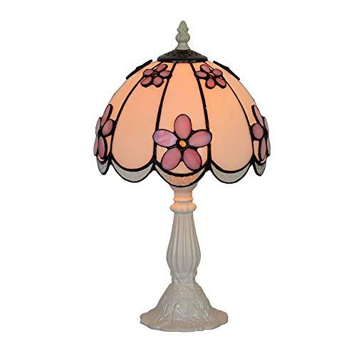 Mini tafellamp, Tiffany-stijl, lampenkap van getint glas, kleur roze, bloemen, driedimensionaal, nachtlampje, E14, hoogte: 14,5 cm, roze, 40 W