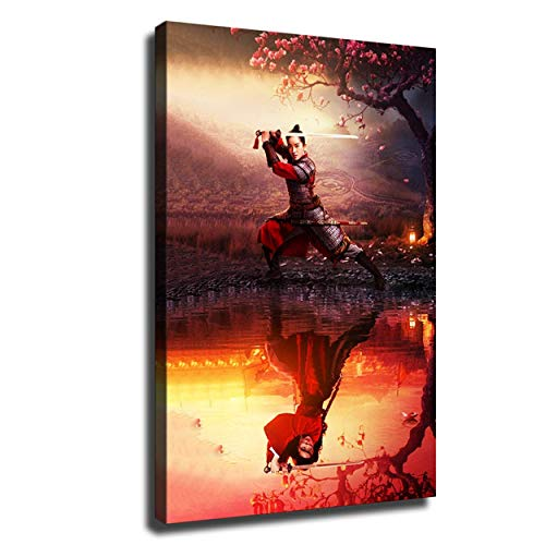 Pster de Mulan Movie 2020 Mulan Disfraz masculino y femenino, espada de danza, decoracin de habitacin moderna, pintura de pared en lienzo (61 x 91 cm, sin marco)