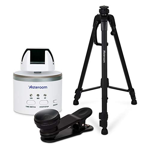 360 Camera 3D Virtual Tour Real Estate Kit by Asteroom - 2nd Gen. Gear Includes Digital Camera Rotator, Fisheye Cam Lens, Tripod (Asteroom iPhone and Samsung Phone Case Bundle Recommended)
