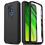 AMENQ Case for Moto G7 Power, Moto G7 Optimo Max XT1955 Case, Moto G7 Supra Case, Built-in Screen Protector Full Body Heavy Duty with TPU Bumper and Rugged PC Armor Protective Phone Cover(Black)