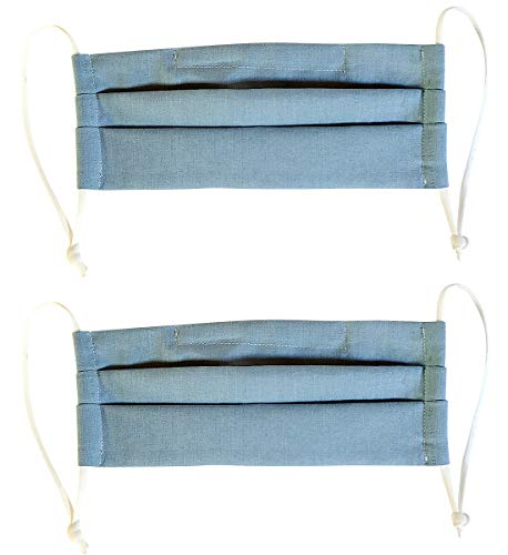 100% Cotton Korean Reusable Washable Adjustable Metal Strip Face Mouth Mask 2 Pack Double Layer Anti-Dust Fashion Outdoor Cloth Cover (Blue)