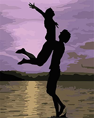 Kit de pintura por números, Amiiba Abstracto Duo Ballet 16 x 20 pulgadas Pintura acrílica por número Wall Art Crafts (amante, con marco)