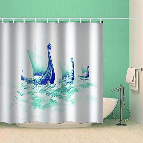 kuanmais Duschkabine Curtaingreen Boot Duschvorhang Badezimmerdekoration Schimmelfest wasserdicht mit 12 Haken 150x180cm