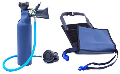 MiniDive Mini Duikfles 0,8 L Blauwe Aluminium Met Harnas I Onderwater Ademhalingsapparatuur Unisex