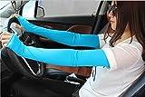 Verano sección Delgada conducción protección UV Ciclismo Medio Dedo Largo Protector Solar Guantes Manga sombrilla Deportes al Aire Libre Brazo Conjunto-Lack Blue-Length 52CM