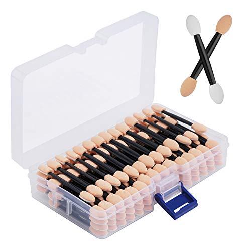 Cuttte Lot de 120 éponges applicateurs de fard à paupières jetables double face avec récipient de 6,1 cm de long