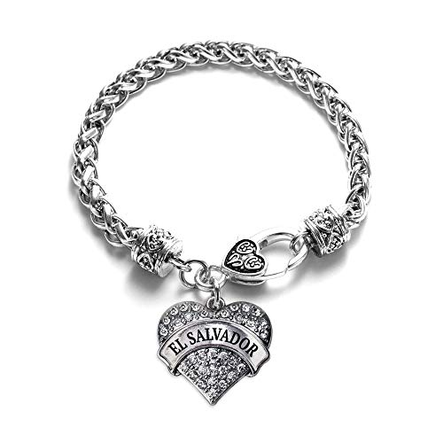 Inspired Silver - El Salvador Braided Bracelet for Women - Silver Pave Heart Charm Bracelet with Cubic Zirconia Jewelry