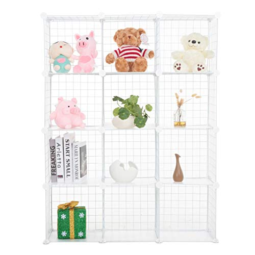 12 Cube Storage Unit Shelves, DIY Metal Wire Grid Storage Closet Rack, Unit Grid with 10 kg Load Capacity For Bedroom, Living room, Kitchen and Office 97.5 x 32 x 130 cm (White)