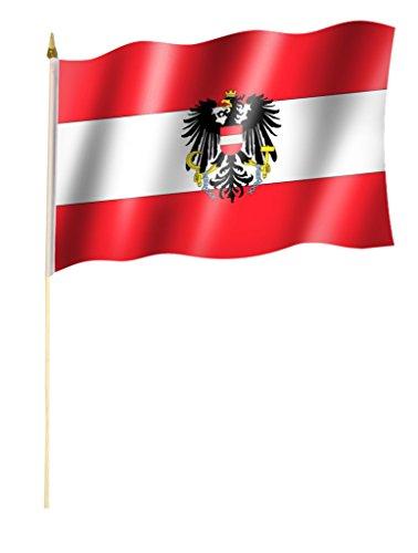 Sportfanshop24 Stockflagge/Stockfahne ÖSTERREICH mit Wappen Flagge/Fahne ca. 30 x 45 cm mit ca. 60cm Stab/Stock