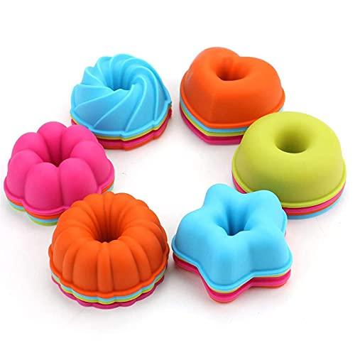 Muffins Moldes de Silicona,Zuzer 24PCS Moldes para Magdalenas de Silicona,Reutilizables Moldes de Horneado Donuts Postre Pastel,Varias Formas de Moldes se Utilizan para Hornear en la Cocina (style 2)