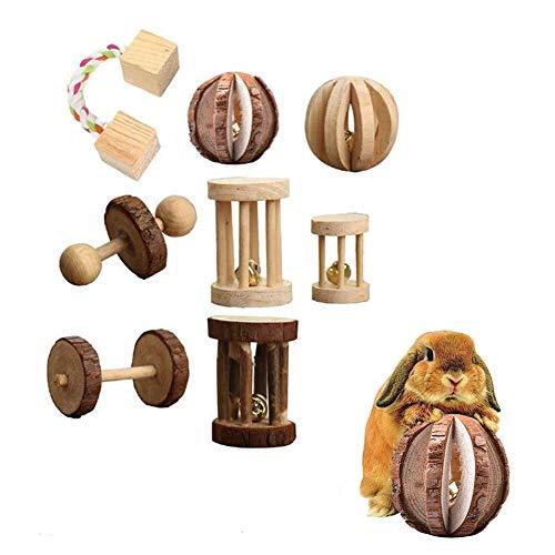 QAVILFLY Juguetes de cobaya, madera natural, hámster de pino, juguete para masticar, rata de chinchilla, rata, conejo, ruedas de ejercicio molar para dientes, 8 piezas