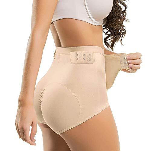Womens Padded Underwear Butt Lifter Hip Enhancer High Waist Shapewear Toning Buttock Tummy Control Pantie Beige